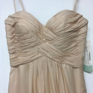 Dave & Johnny Dresses - Formal Gown. Nude Chiffon Strapless Prom Sz 1/2